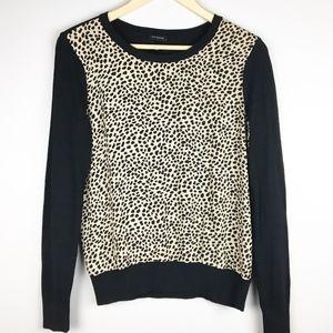 Ann Taylor Black Animal Print Sweater XS